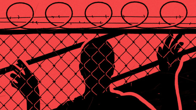 illustration-of-man-in-shadow-clutching-chainlink-barbed-wire-fence