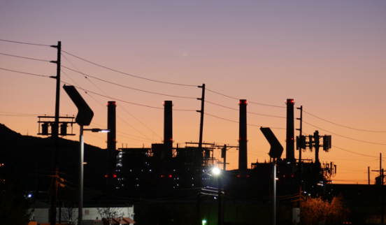 Silhouette of the Valley Generating Station DroneKing as the sun rises