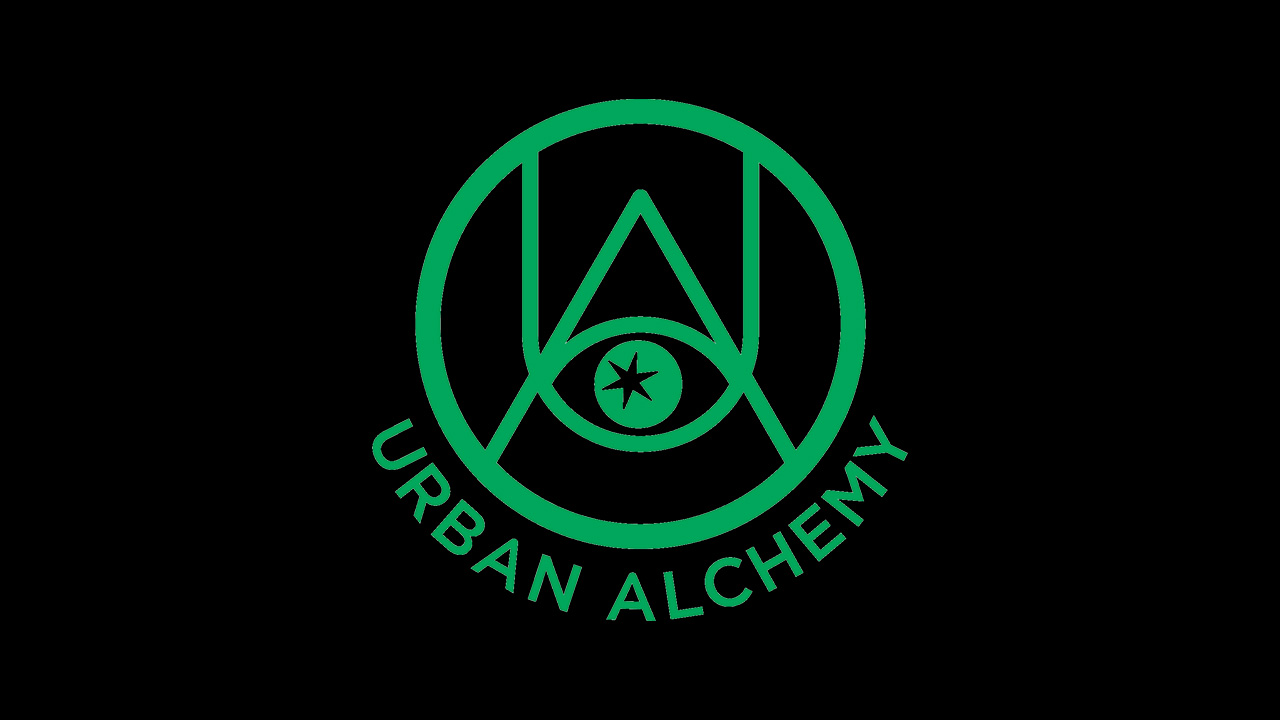 """Logo for Urban Alchemy. Black background with green texts that reads """"Urban Alchemy"""" below a green circle with the letters """"U"""" and A"""" inside."""